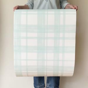 Cottage Plaid Seafoam Wallpaper